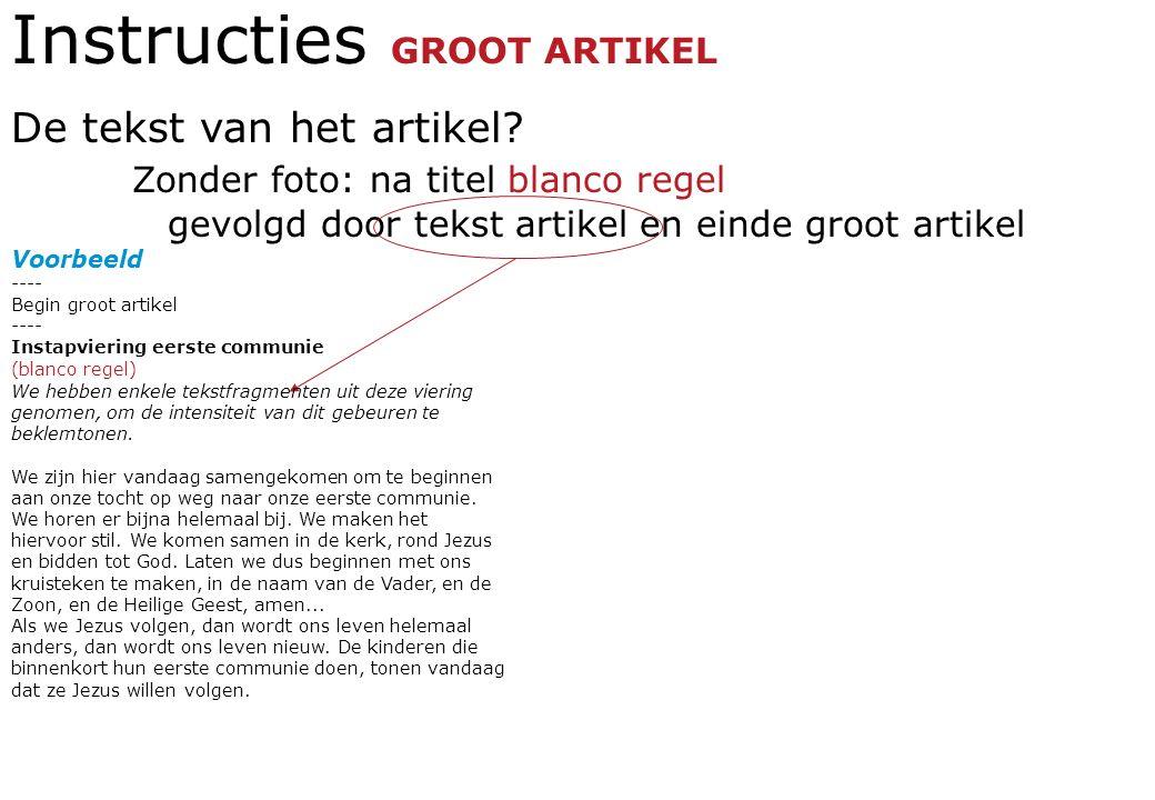 Instructies GROOT ARTIKEL De tekst van het artikel.