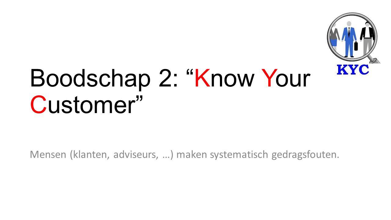 Boodschap 2: Know Your Customer Mensen (klanten, adviseurs, …) maken systematisch gedragsfouten.