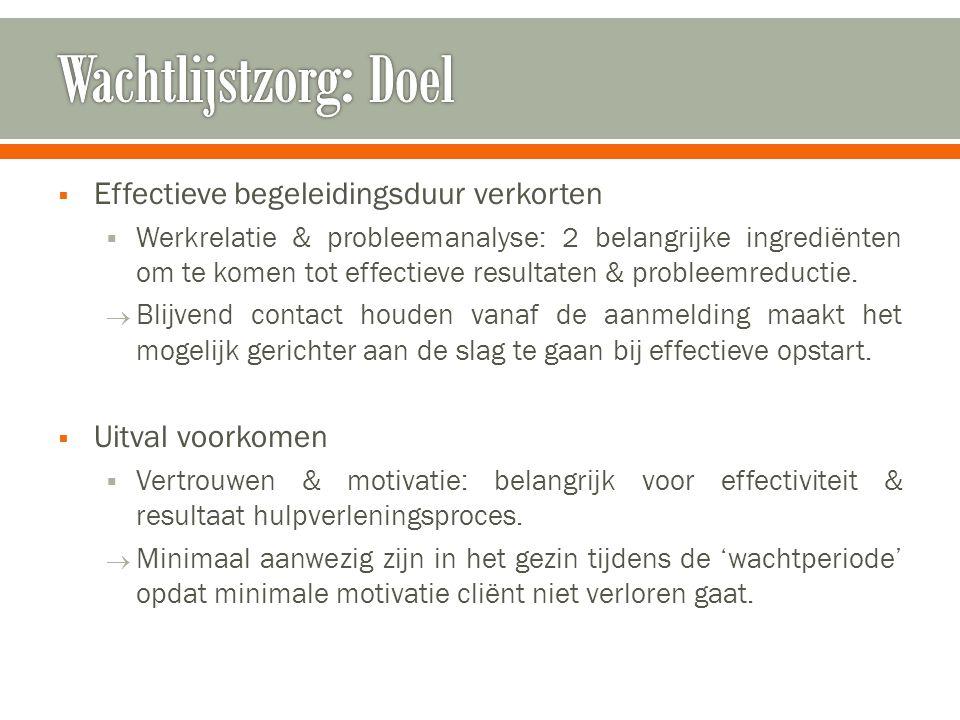  Effectieve begeleidingsduur verkorten  Werkrelatie & probleemanalyse: 2 belangrijke ingrediënten om te komen tot effectieve resultaten & probleemreductie.