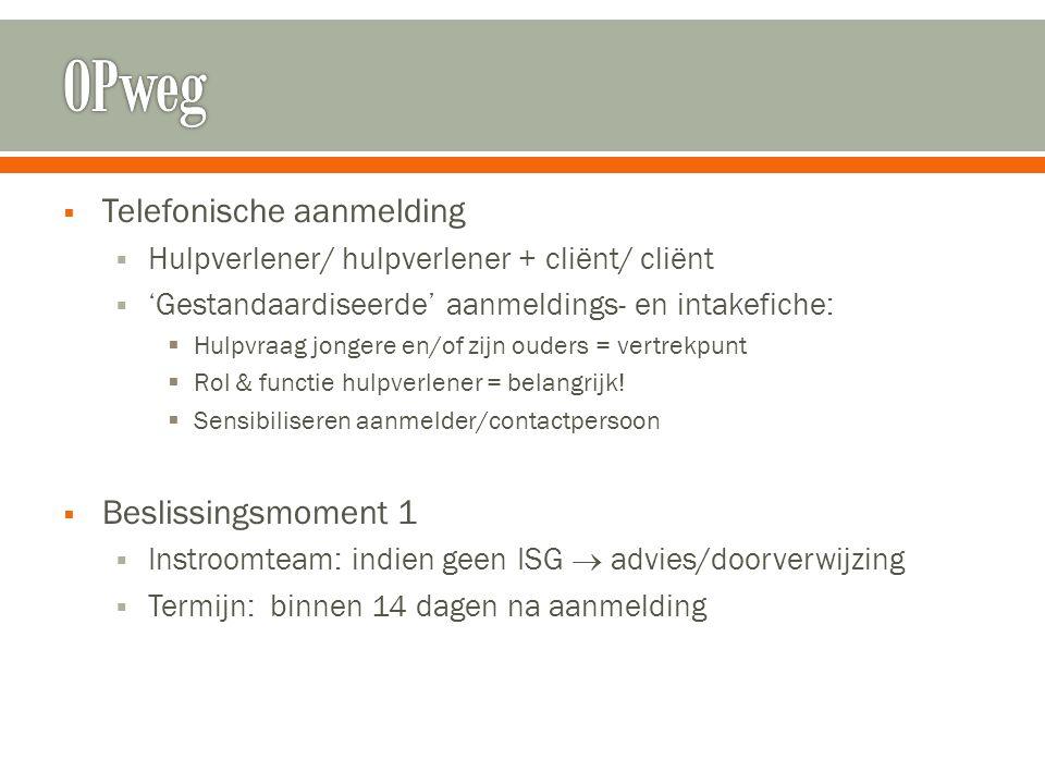  Telefonische aanmelding  Hulpverlener/ hulpverlener + cliënt/ cliënt  'Gestandaardiseerde' aanmeldings- en intakefiche:  Hulpvraag jongere en/of
