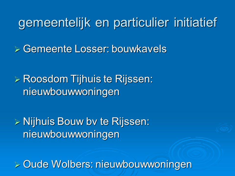 gemeentelijk en particulier initiatief  Gemeente Losser: bouwkavels  Roosdom Tijhuis te Rijssen: nieuwbouwwoningen  Nijhuis Bouw bv te Rijssen: nie