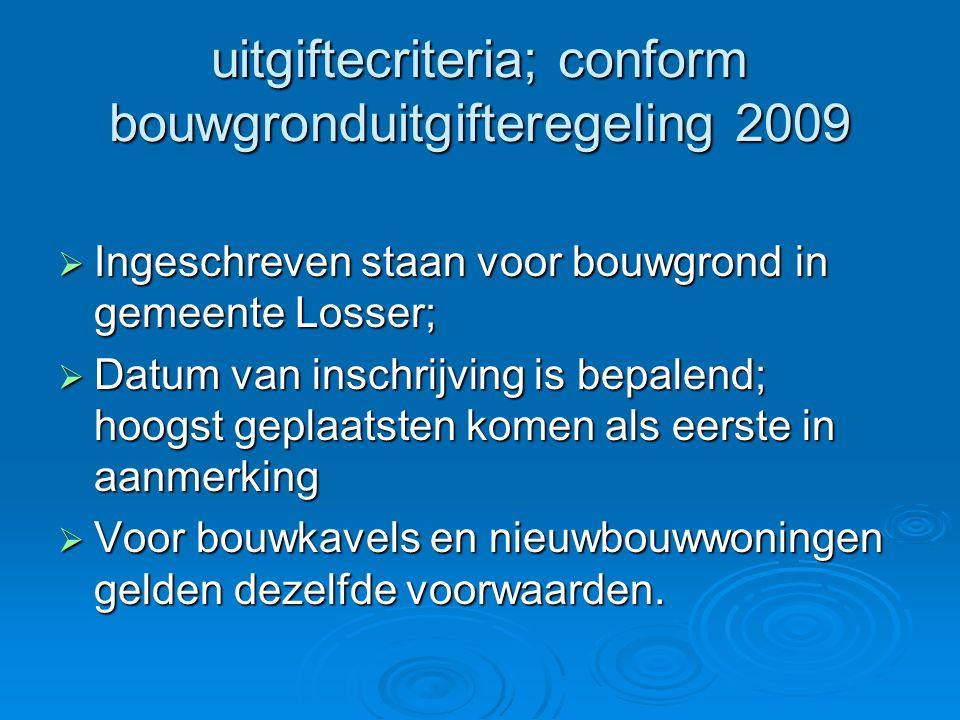 uitgiftecriteria; conform bouwgronduitgifteregeling 2009  Ingeschreven staan voor bouwgrond in gemeente Losser;  Datum van inschrijving is bepalend;