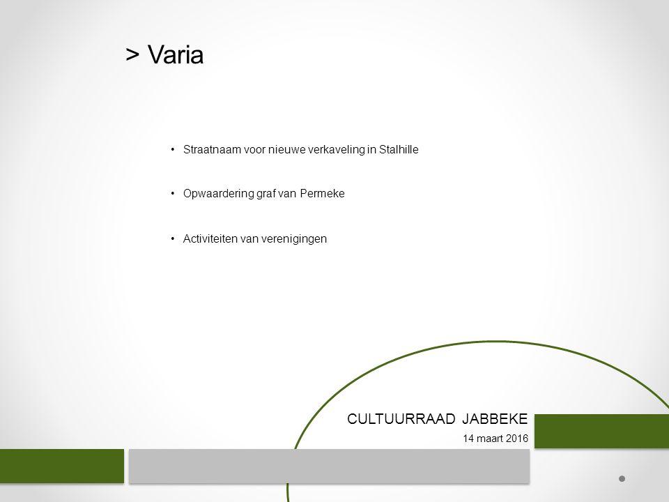 CULTUURRAAD JABBEKE 14 maart 2016 > Varia Straatnaam voor nieuwe verkaveling in Stalhille Opwaardering graf van Permeke Activiteiten van verenigingen