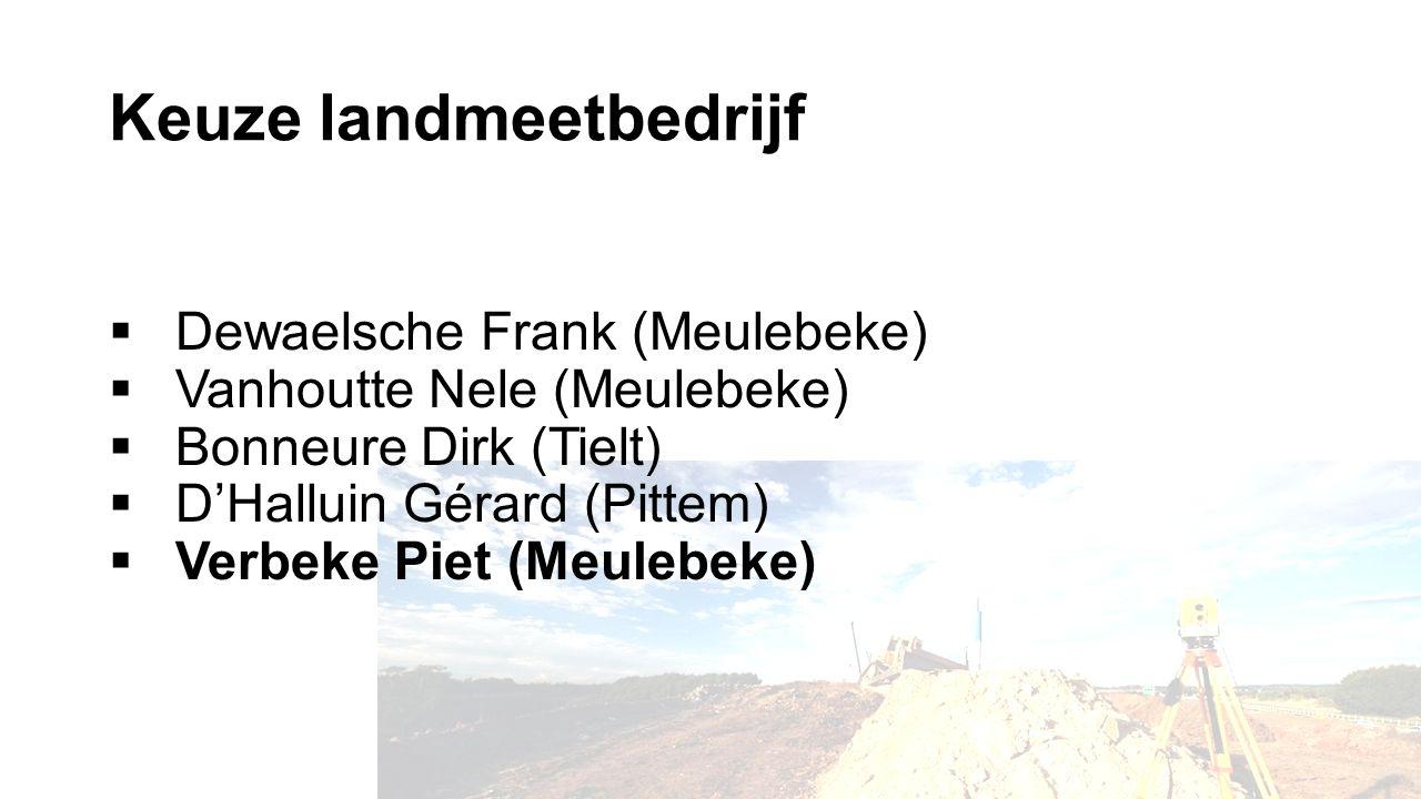 Keuze landmeetbedrijf  Dewaelsche Frank (Meulebeke)  Vanhoutte Nele (Meulebeke)  Bonneure Dirk (Tielt)  D'Halluin Gérard (Pittem)  Verbeke Piet (Meulebeke)