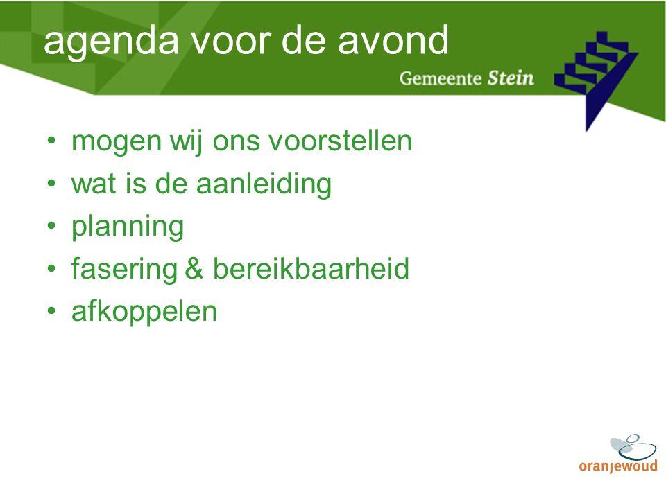 agenda voor de avond mogen wij ons voorstellen wat is de aanleiding planning fasering & bereikbaarheid afkoppelen