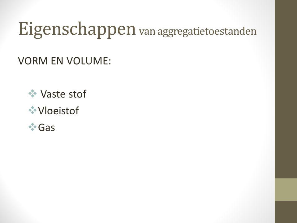 Eigenschappen van aggregatietoestanden VORM EN VOLUME:  Vaste stof  Vloeistof  Gas