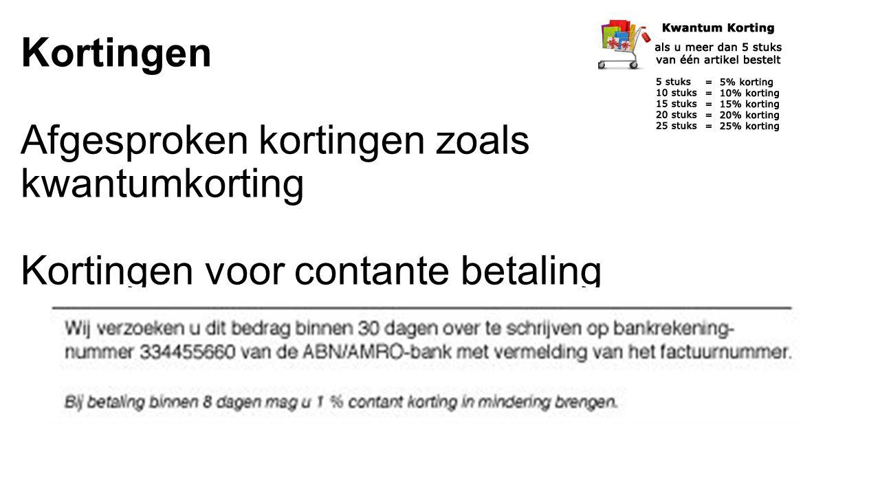 Kortingen bij inkopen NIET APART BOEKEN !!.