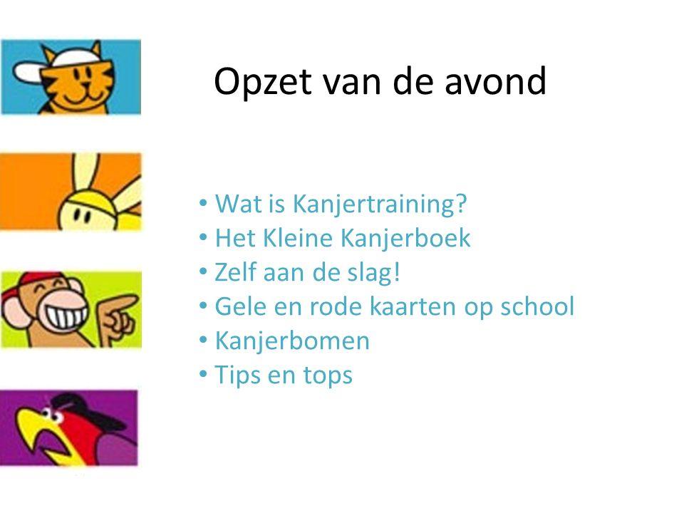 Opzet van de avond Wat is Kanjertraining? Het Kleine Kanjerboek Zelf aan de slag! Gele en rode kaarten op school Kanjerbomen Tips en tops