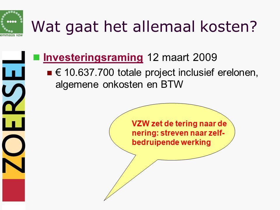 Wat gaat het allemaal kosten? Investeringsraming 12 maart 2009 € 10.637.700 totale project inclusief erelonen, algemene onkosten en BTW VZW zet de ter