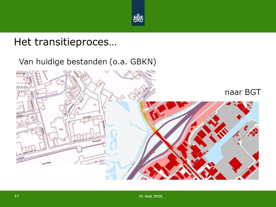 17 Het transitieproces… 31 mei 2016 naar BGT Van huidige bestanden (o.a. GBKN)