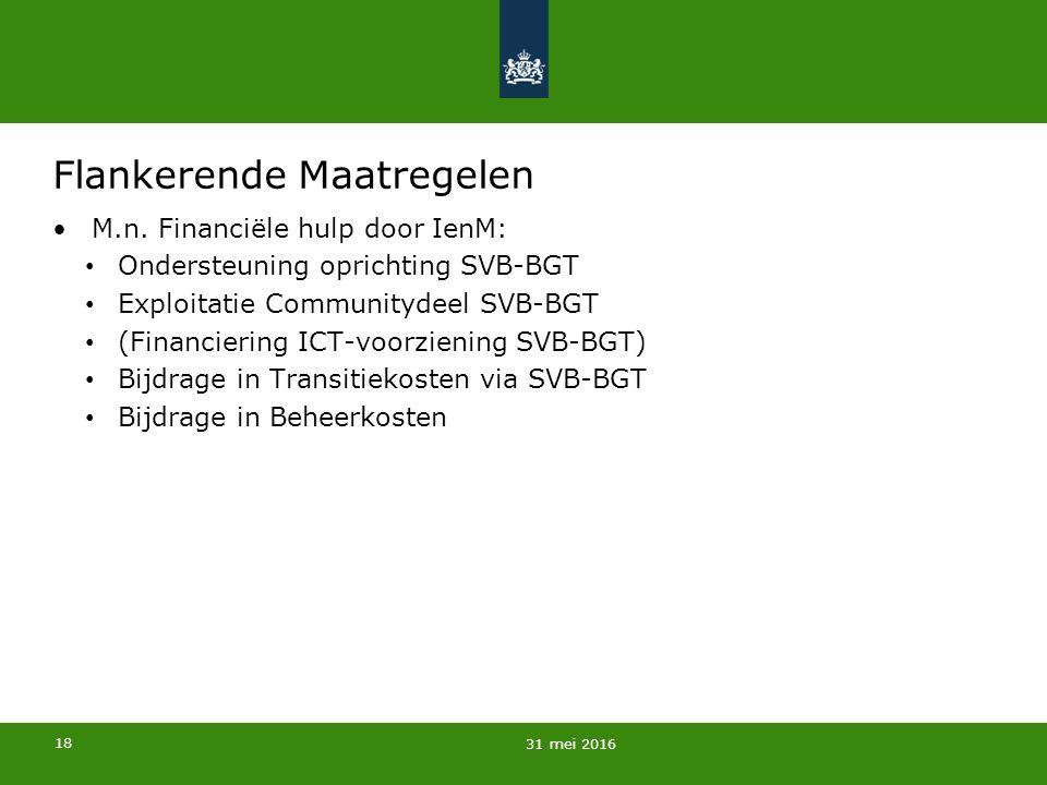 18 Flankerende Maatregelen M.n. Financiële hulp door IenM: Ondersteuning oprichting SVB-BGT Exploitatie Communitydeel SVB-BGT (Financiering ICT-voorzi