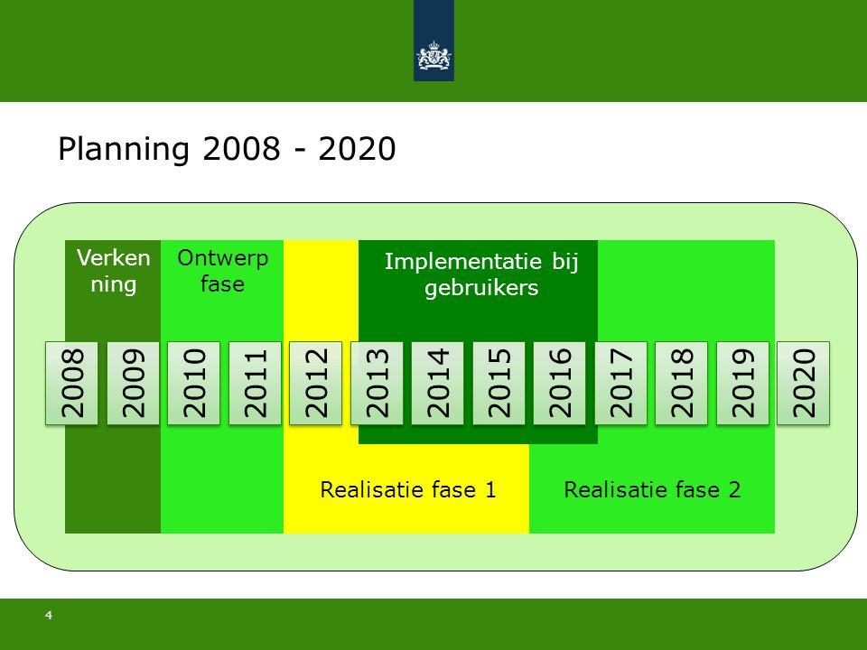 4 31 mei 2016 2008 2009 2010 2011 2012 2013 2014 2015 2016 2017 2018 2019 2020 Verken ning Ontwerp fase Realisatie fase 1Realisatie fase 2 Implementatie bij gebruikers Planning 2008 - 2020