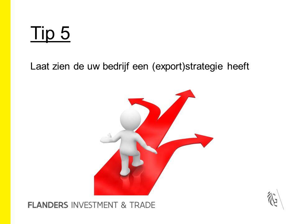 Tip 5 Laat zien de uw bedrijf een (export)strategie heeft