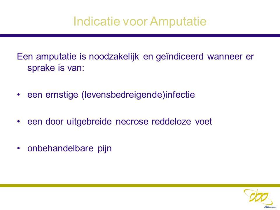 Indicatie voor Amputatie Een amputatie is noodzakelijk en geïndiceerd wanneer er sprake is van: een ernstige (levensbedreigende)infectie een door uitg