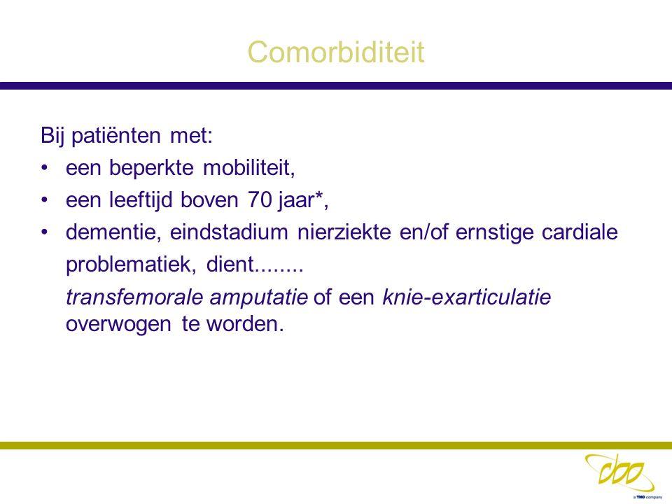 Comorbiditeit Bij patiënten met: een beperkte mobiliteit, een leeftijd boven 70 jaar*, dementie, eindstadium nierziekte en/of ernstige cardiale proble