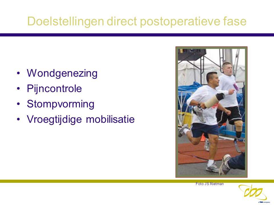 Doelstellingen direct postoperatieve fase Wondgenezing Pijncontrole Stompvorming Vroegtijdige mobilisatie Foto JS Rietman