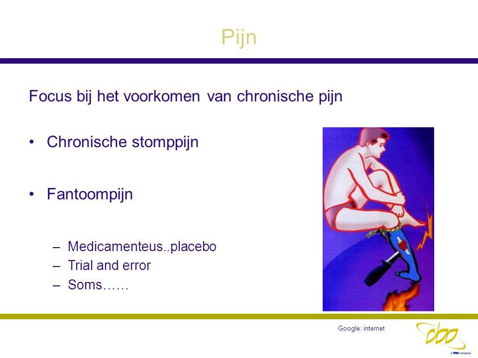 Pijn Focus bij het voorkomen van chronische pijn Chronische stomppijn Fantoompijn –Medicamenteus..placebo –Trial and error –Soms…… Google: internet