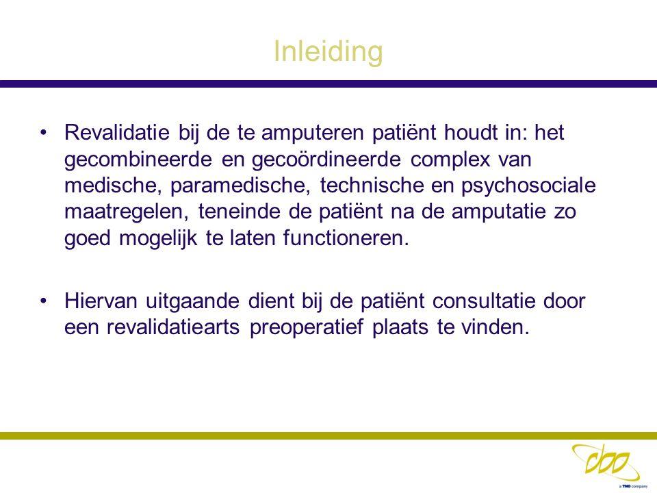Inleiding Revalidatie bij de te amputeren patiënt houdt in: het gecombineerde en gecoördineerde complex van medische, paramedische, technische en psyc