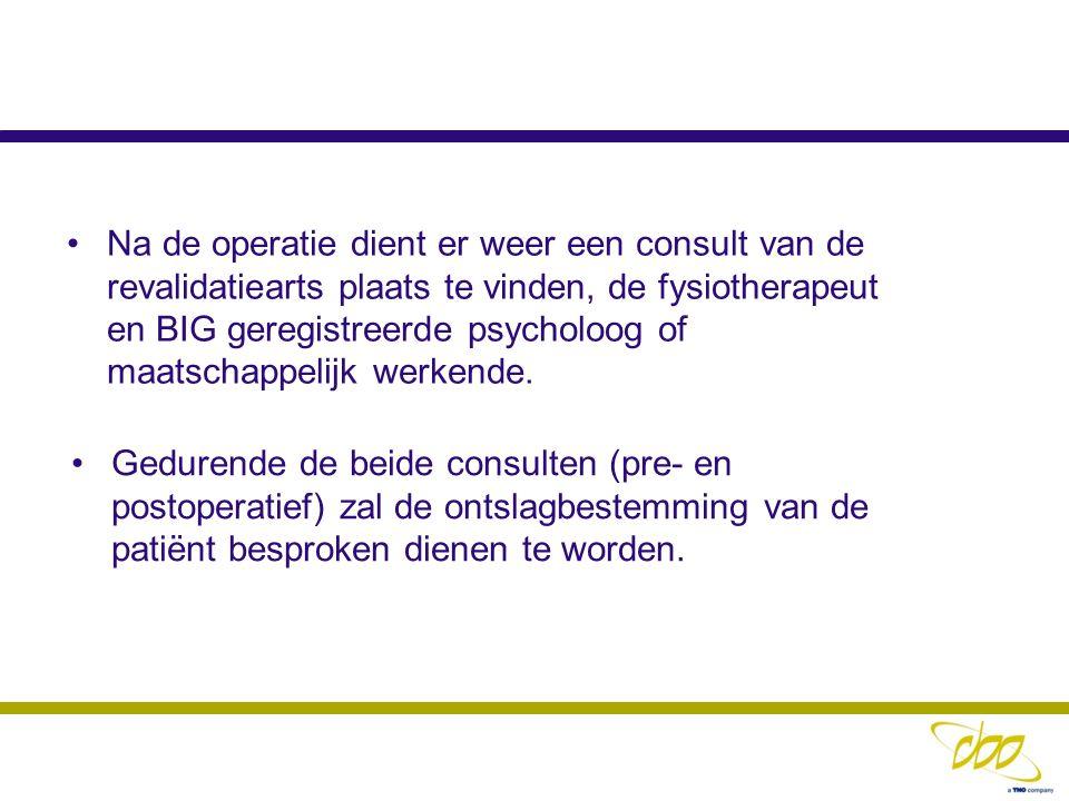 Gedurende de beide consulten (pre- en postoperatief) zal de ontslagbestemming van de patiënt besproken dienen te worden. Na de operatie dient er weer