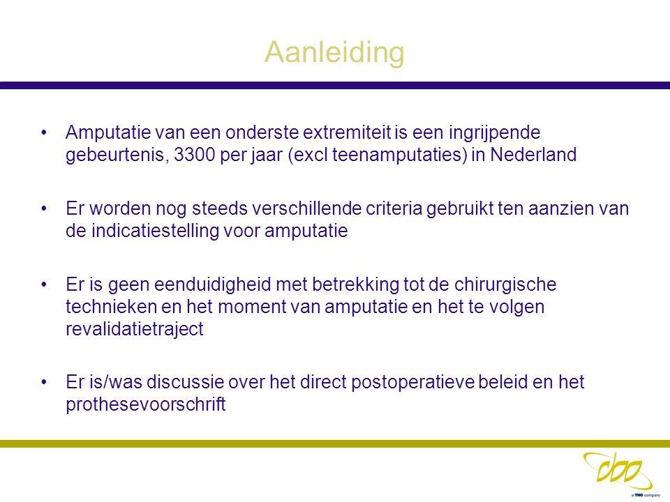 Aanleiding Amputatie van een onderste extremiteit is een ingrijpende gebeurtenis, 3300 per jaar (excl teenamputaties) in Nederland Er worden nog steed