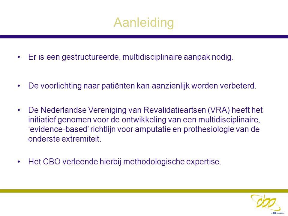 Aanleiding Er is een gestructureerde, multidisciplinaire aanpak nodig. De voorlichting naar patiënten kan aanzienlijk worden verbeterd. De Nederlandse