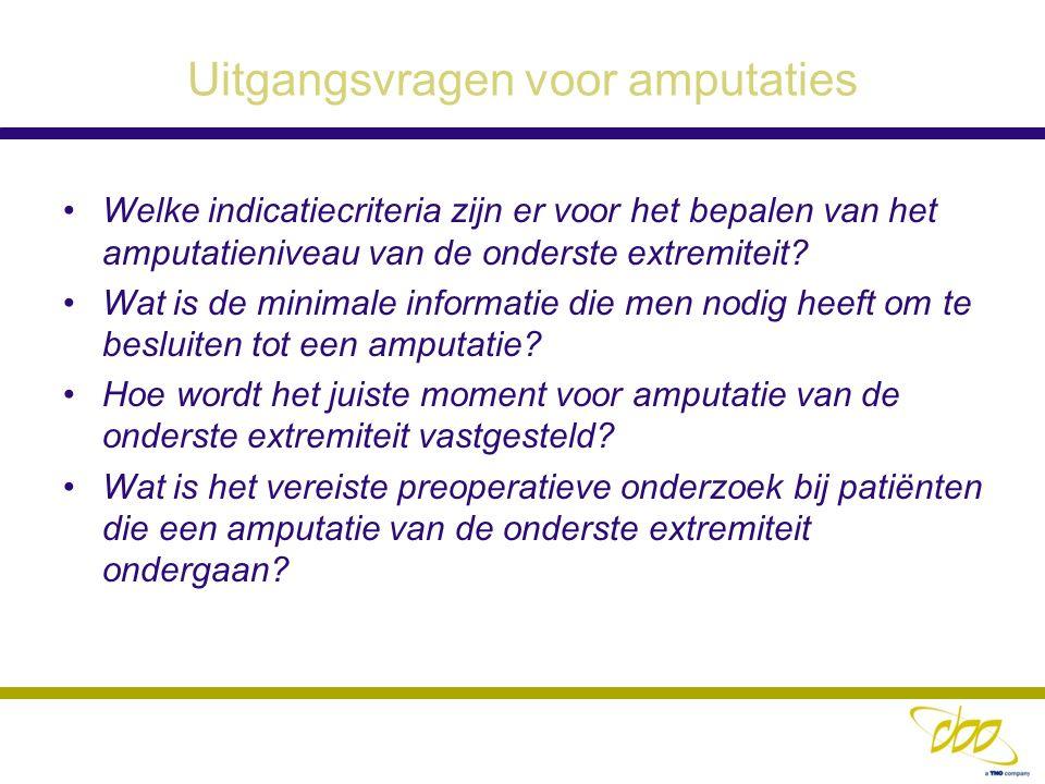 Indicatie voor Amputatie Een amputatie is noodzakelijk en geïndiceerd wanneer er sprake is van: een ernstige (levensbedreigende)infectie een door uitgebreide necrose reddeloze voet onbehandelbare pijn