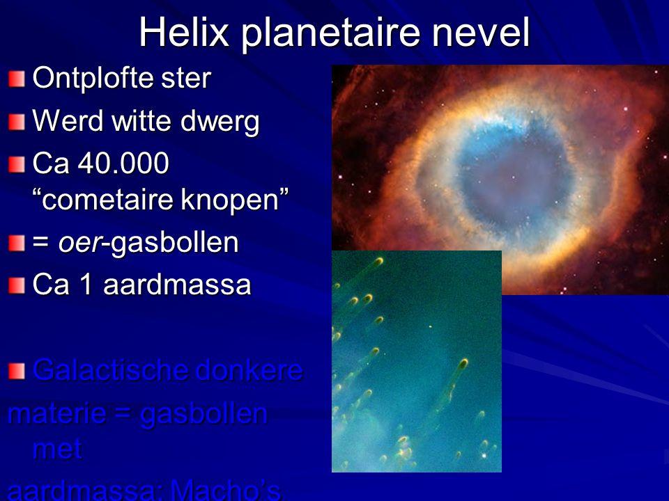 Helix planetaire nevel Ontplofte ster Werd witte dwerg Ca 40.000 cometaire knopen = oer-gasbollen Ca 1 aardmassa Galactische donkere materie = gasbollen met aardmassa: Macho's