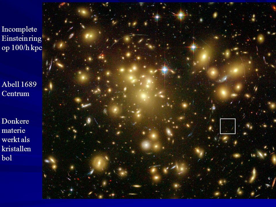 Incomplete Einstein ring op 100/h kpc Abell 1689 Centrum Donkere materie werkt als kristallen bol