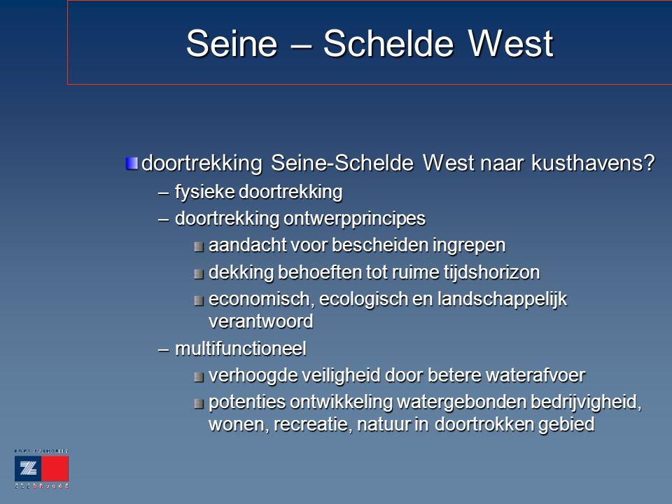 Seine – Schelde West doortrekking Seine-Schelde West naar kusthavens? –fysieke doortrekking –doortrekking ontwerpprincipes aandacht voor bescheiden in