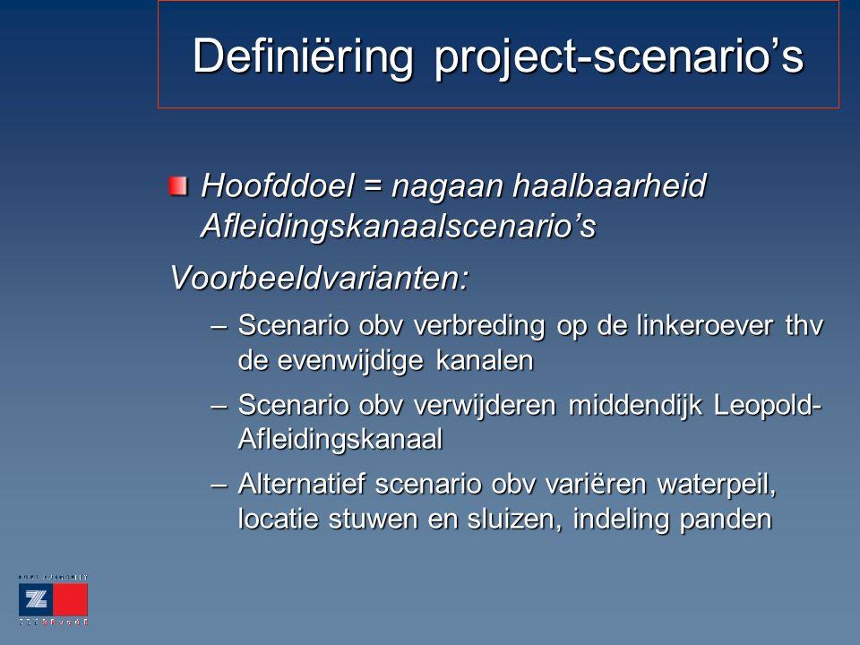 Definiëring project-scenario's Hoofddoel = nagaan haalbaarheid Afleidingskanaalscenario's Voorbeeldvarianten: –Scenario obv verbreding op de linkeroev