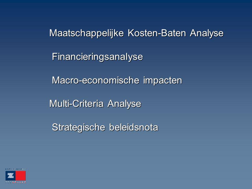 Maatschappelijke Kosten-Baten Analyse Financieringsanalyse Macro-economische impacten Multi-Criteria Analyse Strategische beleidsnota