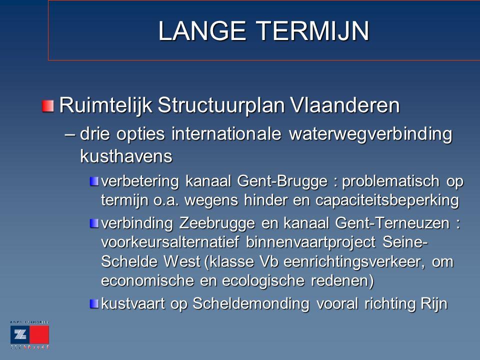 LANGE TERMIJN Ruimtelijk Structuurplan Vlaanderen –drie opties internationale waterwegverbinding kusthavens verbetering kanaal Gent-Brugge : problematisch op termijn o.a.