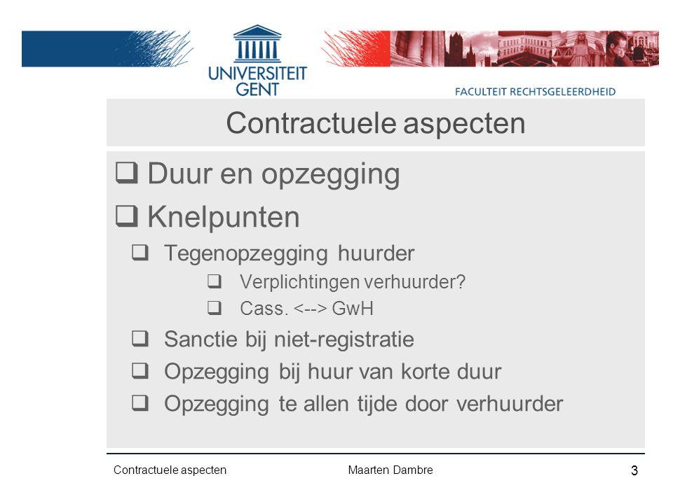 Contractuele aspecten  Duur en opzegging  Knelpunten  Tegenopzegging huurder  Verplichtingen verhuurder.