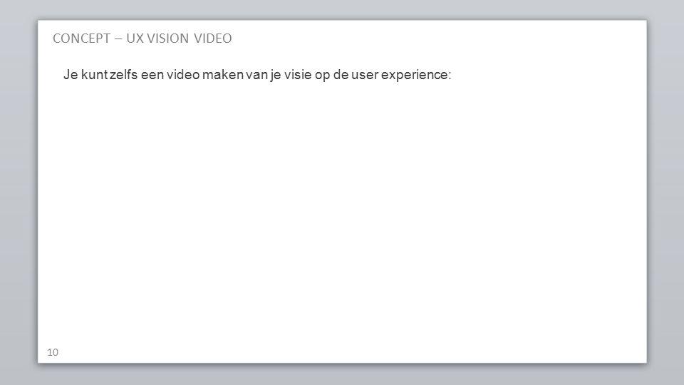 CONCEPT – UX VISION VIDEO 10 Je kunt zelfs een video maken van je visie op de user experience: