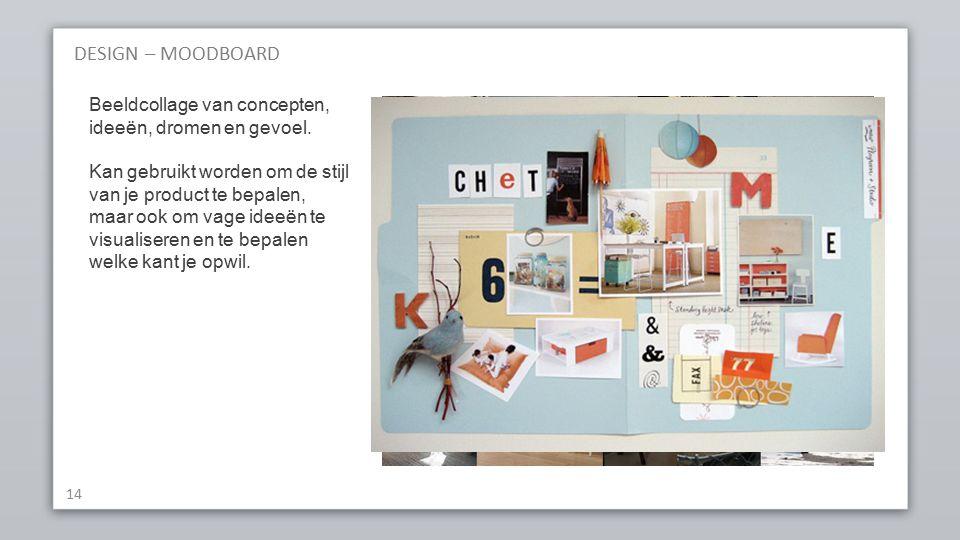 DESIGN – MOODBOARD 14 Beeldcollage van concepten, ideeën, dromen en gevoel.