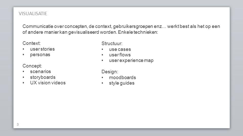 VISUALISATIE 3 Communicatie over concepten, de context, gebruikersgroepen enz… werkt best als het op een of andere manier kan gevisualiseerd worden.