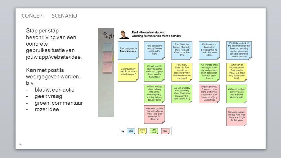 CONCEPT – SCENARIO 6 Stap per stap beschrijving van een concrete gebruikssituatie van jouw app/website/idee.