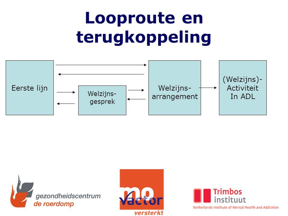 Looproute en terugkoppeling Eerste lijn Welzijns- gesprek Welzijns- arrangement (Welzijns)- Activiteit In ADL