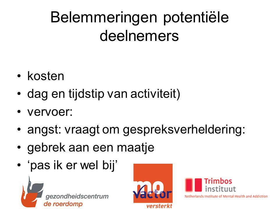 Belemmeringen potentiële deelnemers kosten dag en tijdstip van activiteit) vervoer: angst: vraagt om gespreksverheldering: gebrek aan een maatje 'pas ik er wel bij'