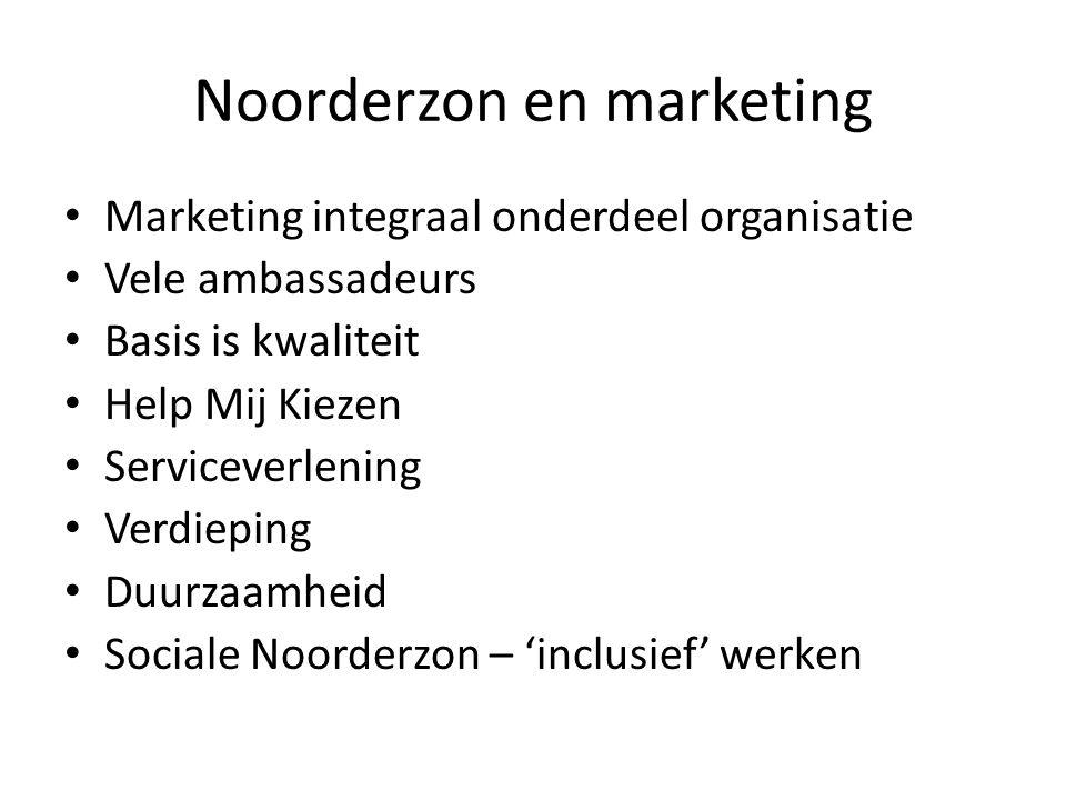 Noorderzon en marketing Marketing integraal onderdeel organisatie Vele ambassadeurs Basis is kwaliteit Help Mij Kiezen Serviceverlening Verdieping Duurzaamheid Sociale Noorderzon – 'inclusief' werken
