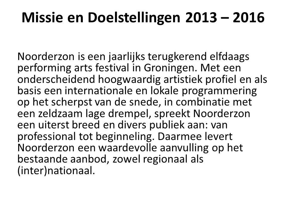 Missie en Doelstellingen 2013 – 2016 Noorderzon is een jaarlijks terugkerend elfdaags performing arts festival in Groningen.
