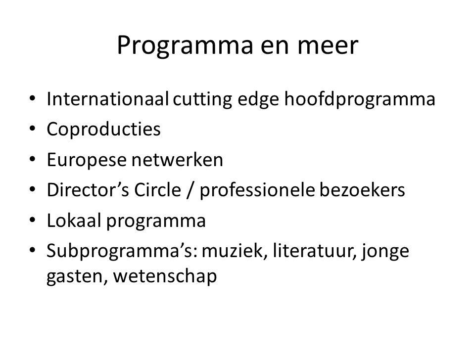 Programma en meer Internationaal cutting edge hoofdprogramma Coproducties Europese netwerken Director's Circle / professionele bezoekers Lokaal programma Subprogramma's: muziek, literatuur, jonge gasten, wetenschap