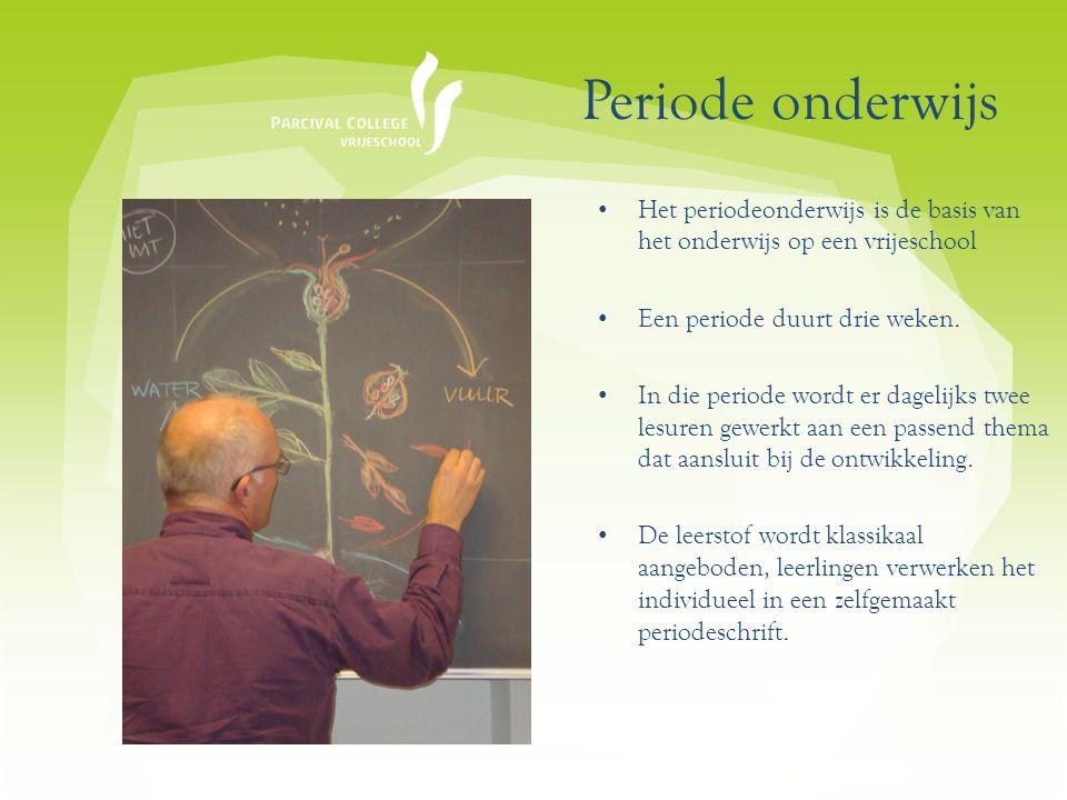 Periode onderwijs Het periodeonderwijs is de basis van het onderwijs op een vrijeschool Een periode duurt drie weken.