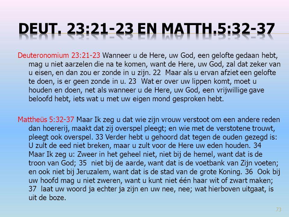 Deuteronomium 23:21-23 Wanneer u de Here, uw God, een gelofte gedaan hebt, mag u niet aarzelen die na te komen, want de Here, uw God, zal dat zeker va