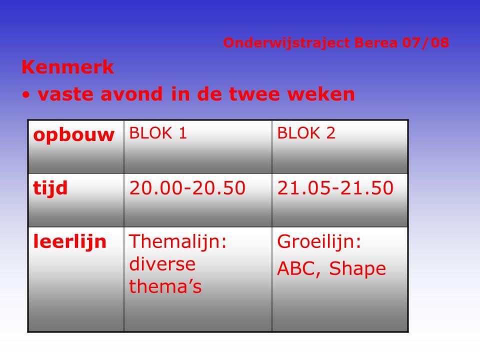 Onderwijstraject Berea 07/08 Kenmerk vaste avond in de twee weken opbouw BLOK 1BLOK 2 tijd20.00-20.5021.05-21.50 leerlijnThemalijn: diverse thema's Groeilijn: ABC, Shape