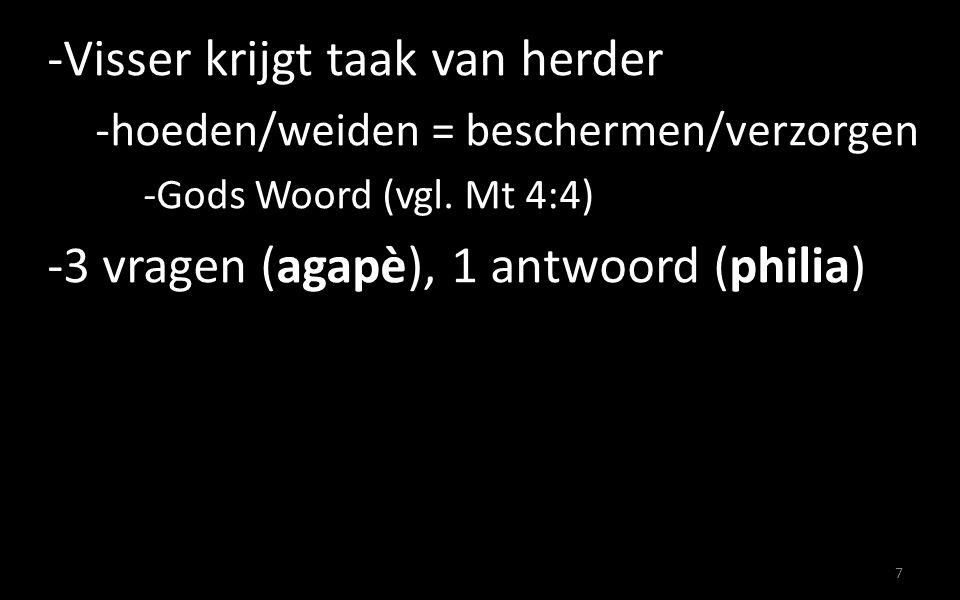 -Visser krijgt taak van herder -hoeden/weiden = beschermen/verzorgen -Gods Woord (vgl.