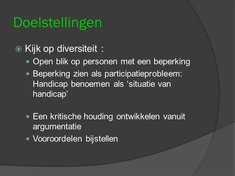 Doelstellingen  Kijk op diversiteit : Open blik op personen met een beperking Beperking zien als participatieprobleem: Handicap benoemen als 'situati