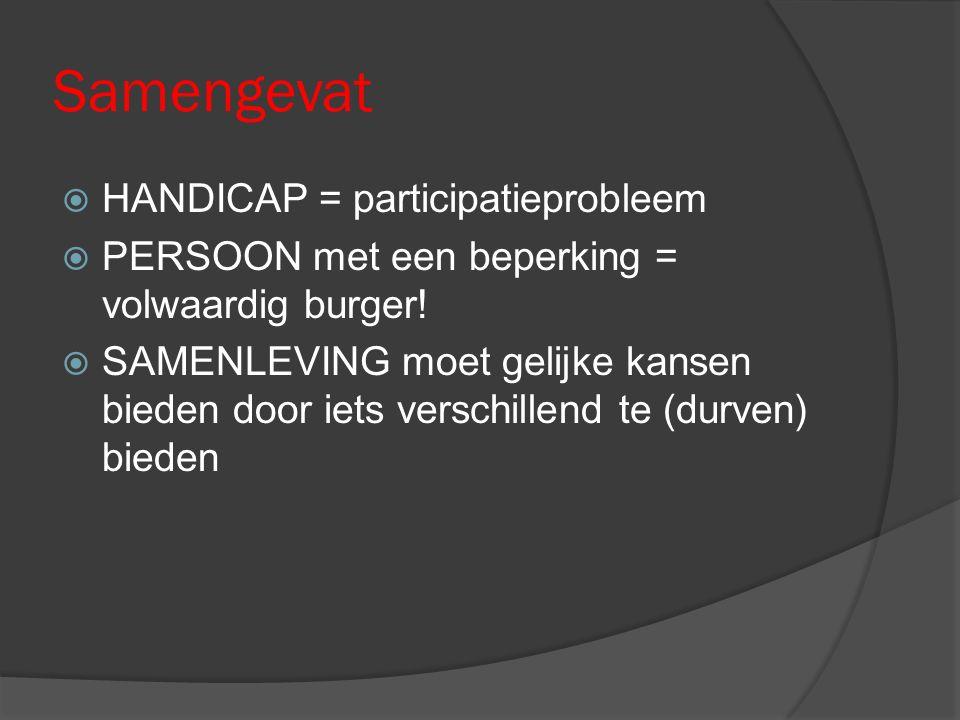 Samengevat  HANDICAP = participatieprobleem  PERSOON met een beperking = volwaardig burger!  SAMENLEVING moet gelijke kansen bieden door iets versc