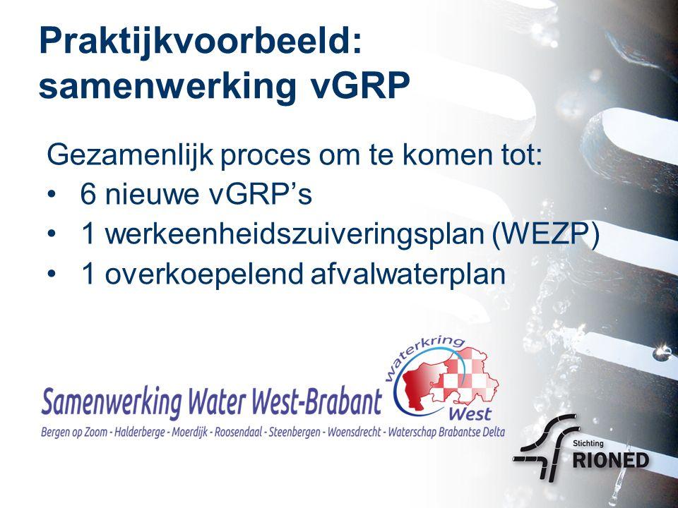 Doelstelling (1) Basis voor betere regionale afstemming in de afvalwaterketen: Gezamenlijk beleidskader en ambities voor de regio bepalen Integratie vGRP's met werkeenheid- zuiveringsplan in een afvalwaterplan Bundeling van investeringen en uitvoeringsprogramma voor riolering en zuivering
