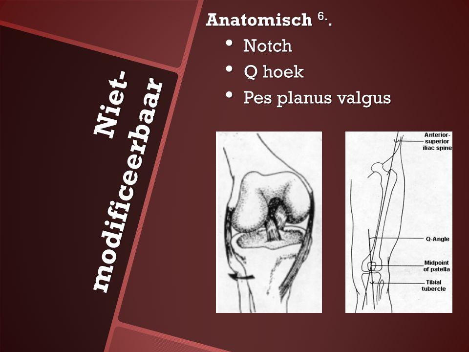 Niet- modificeerbaar Anatomisch 6.. Notch Notch Q hoek Q hoek Pes planus valgus Pes planus valgus